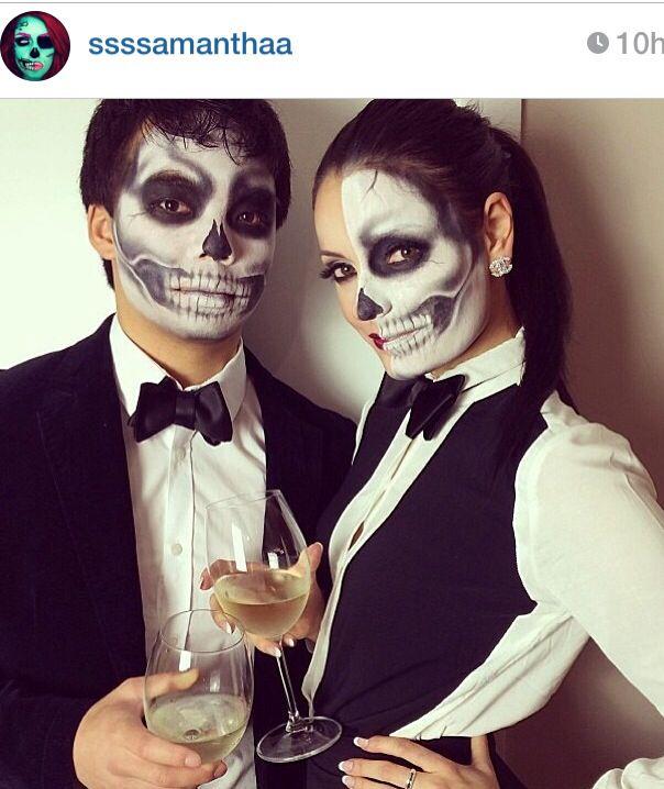 Las mejores im genes de terror skeleton makeup maquillaje de calavera - Maquillage halloween couple ...