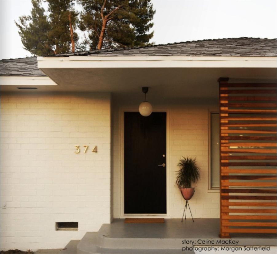 White mid century modern porch house exterior pinterest for Modern front porch