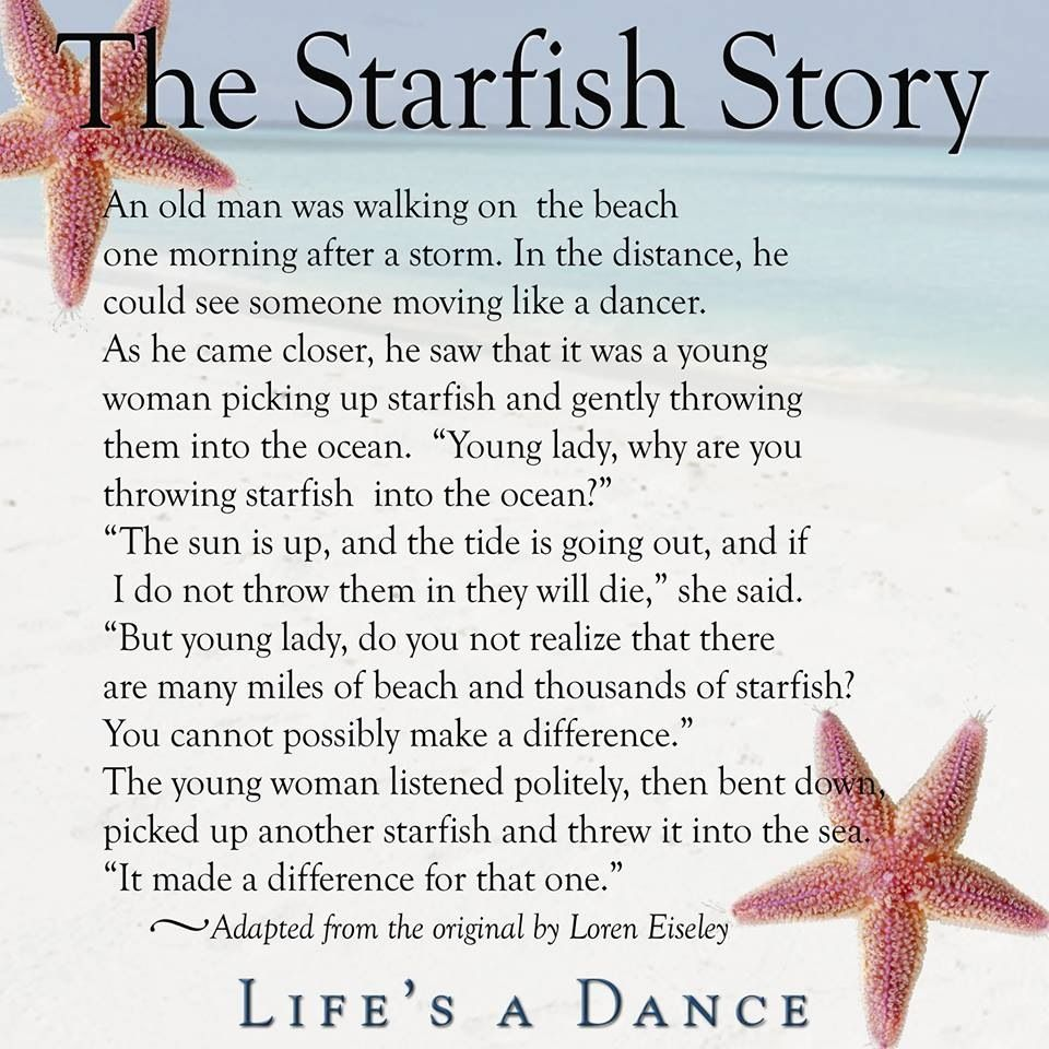 Quotes about people who make a difference quotesgram for Star fish story