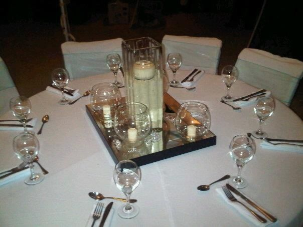 Glass and mirrors centerpiece wedding centerpieces