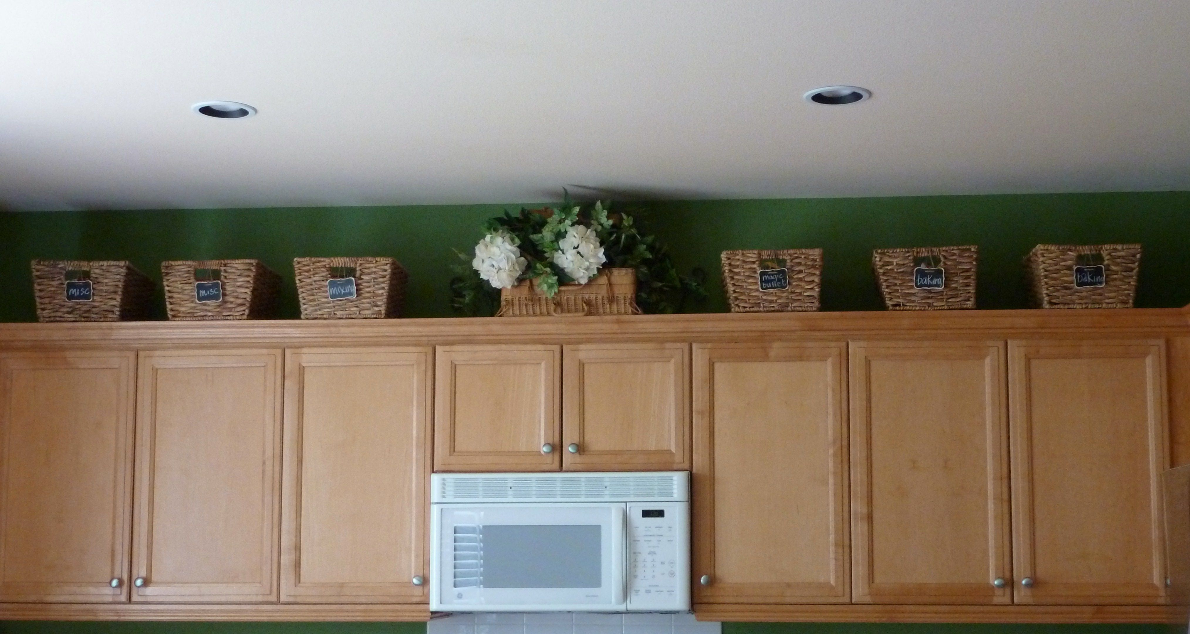 Baskets above cabinets for the home pinterest for Baskets for kitchen cabinets