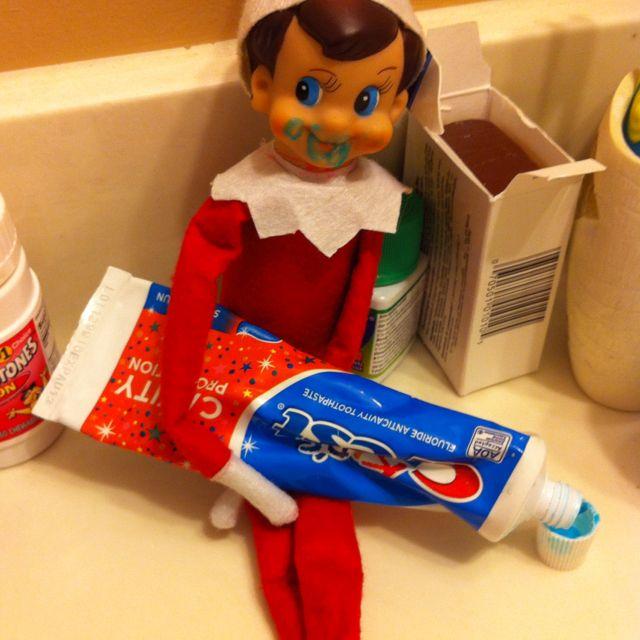 Elf in the toothpaste cute elf on the shelf ideas pinterest