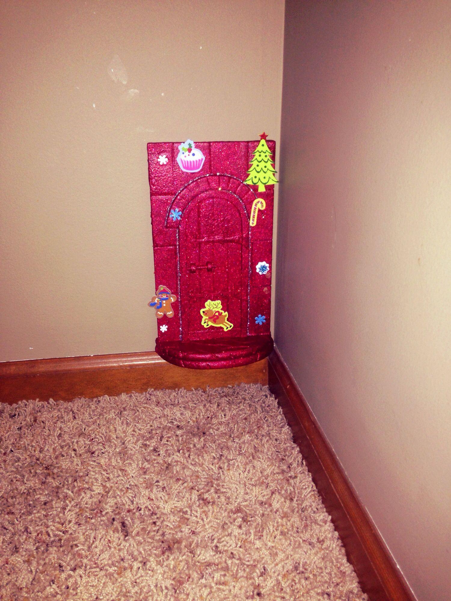Elf on the shelf diy door elf on the shelf pinterest for Homemade elf door