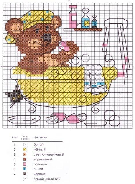 Схема вышивки крестом для ванной и туалета 11