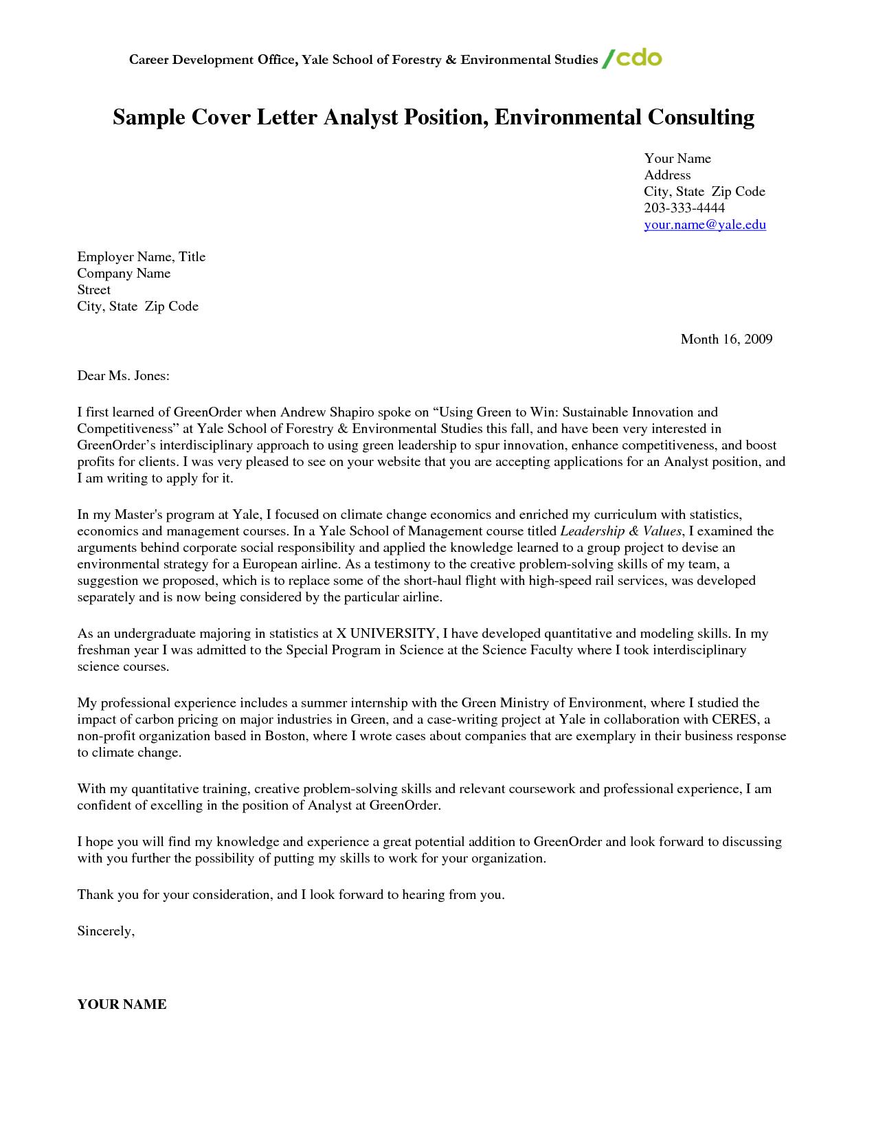 Business Job Cover Letter Sample