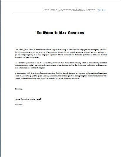 reference letter for employee example