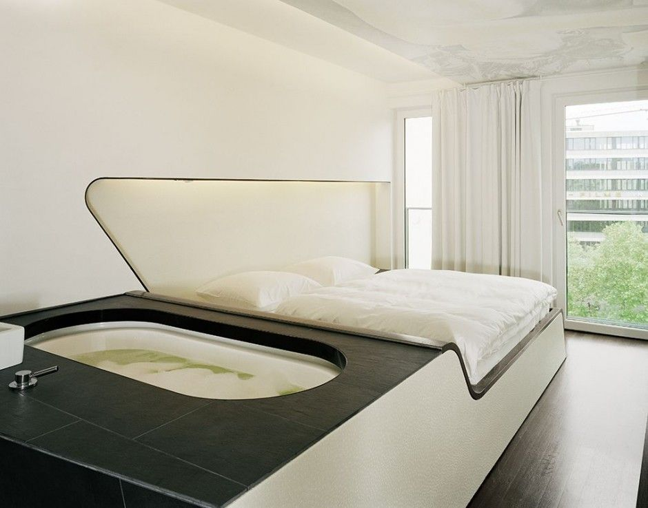 Bed with built in hot tub cool furniture pinterest for 4 design hotel q berlin