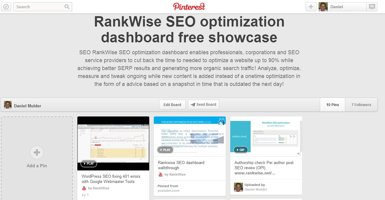 Pinterest board rankwise seo optimization dashboard