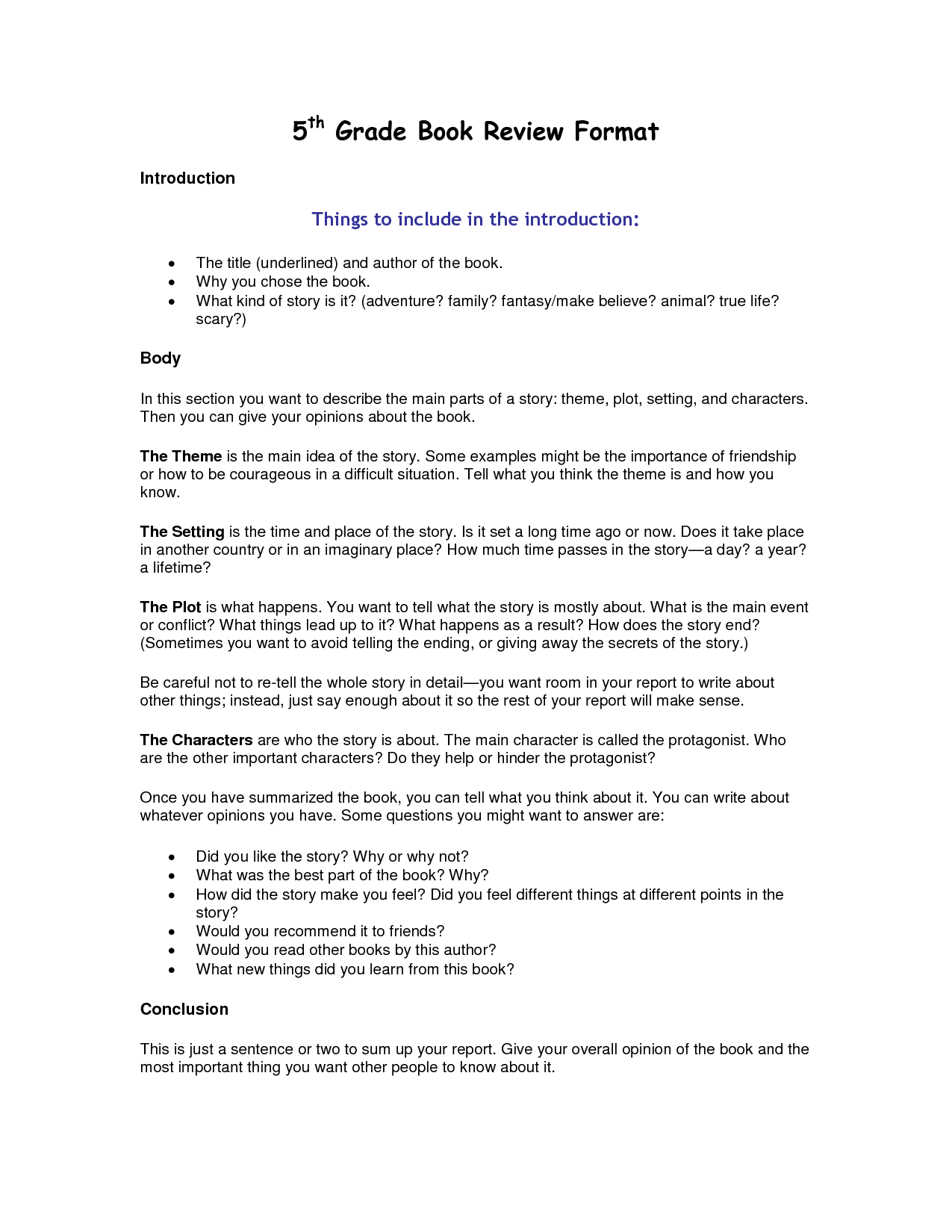 Writing a simple book report outline