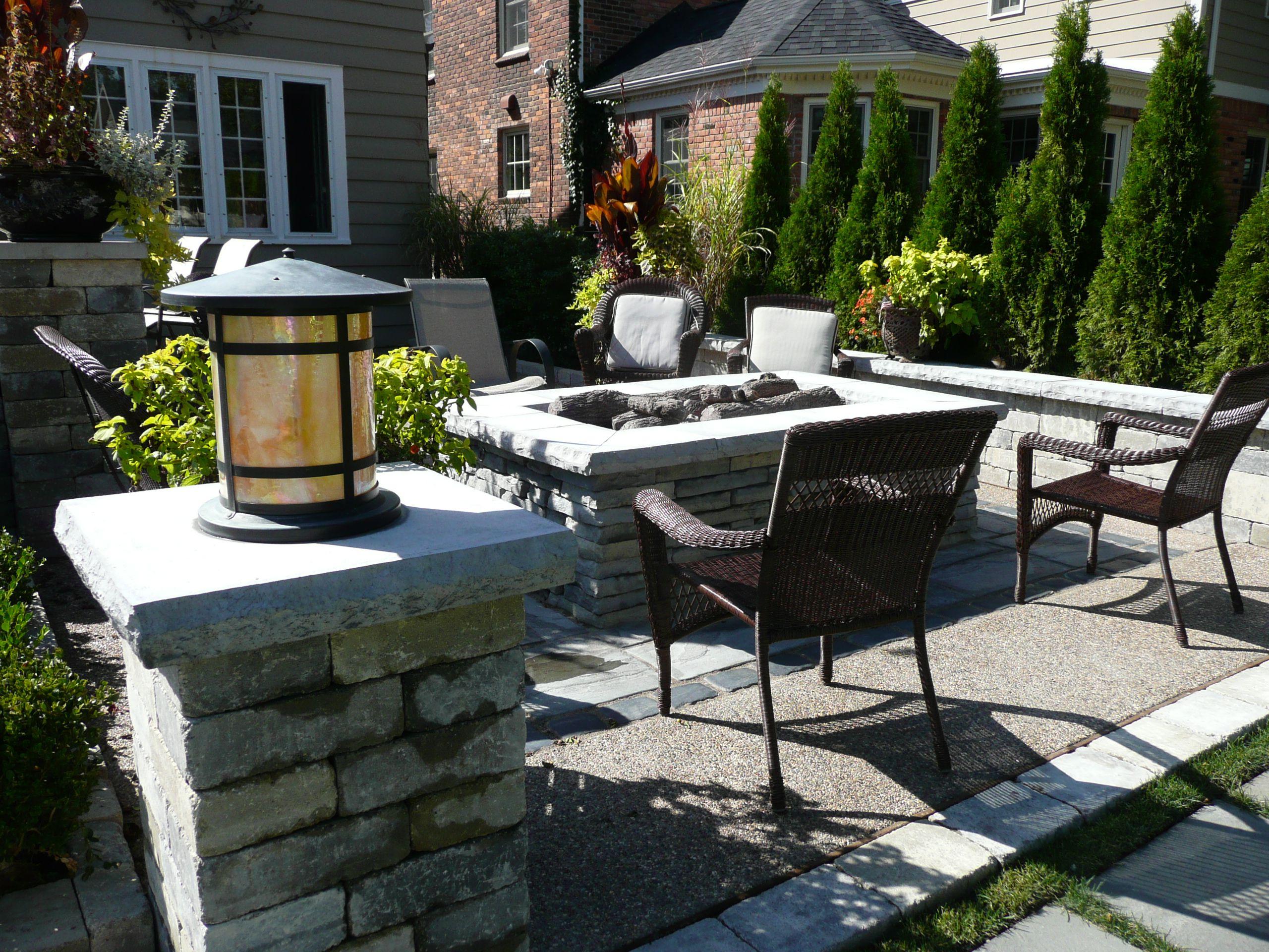 Backyard Gas Fire Pit Designs : Back yard patio with gas fire pit  Landscape design ideas  Pintere