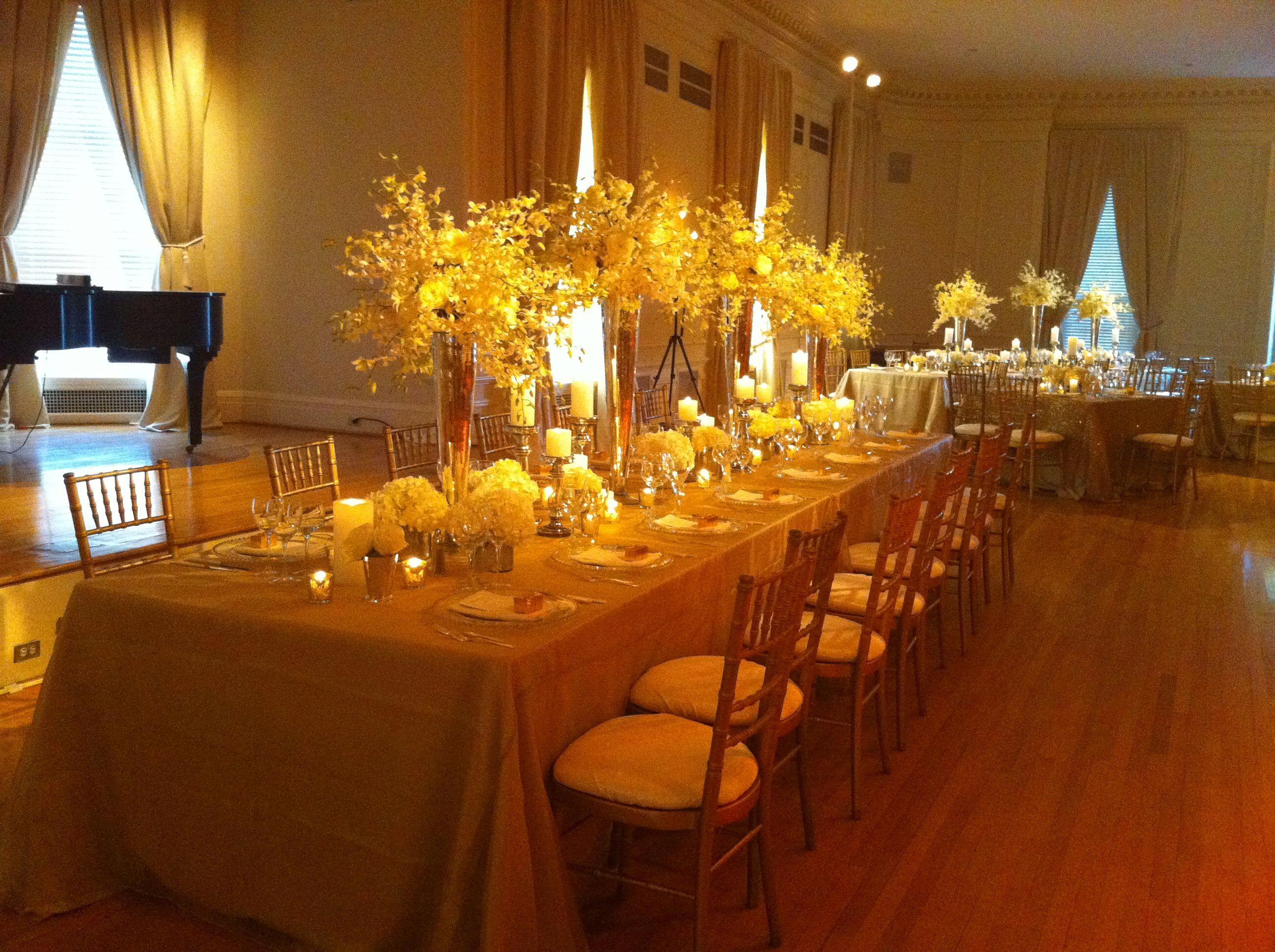Long tables low centerpieces floral arrangements for Long table centerpieces