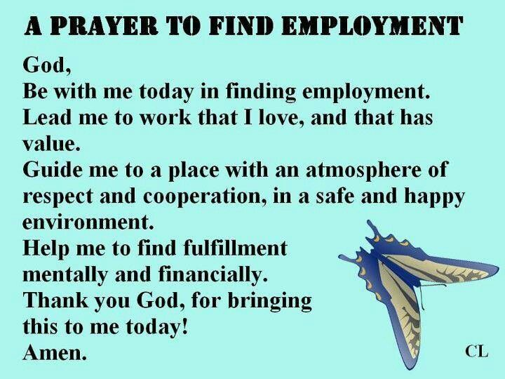 Prayer for employment | Favorite Sayings | Pinterest