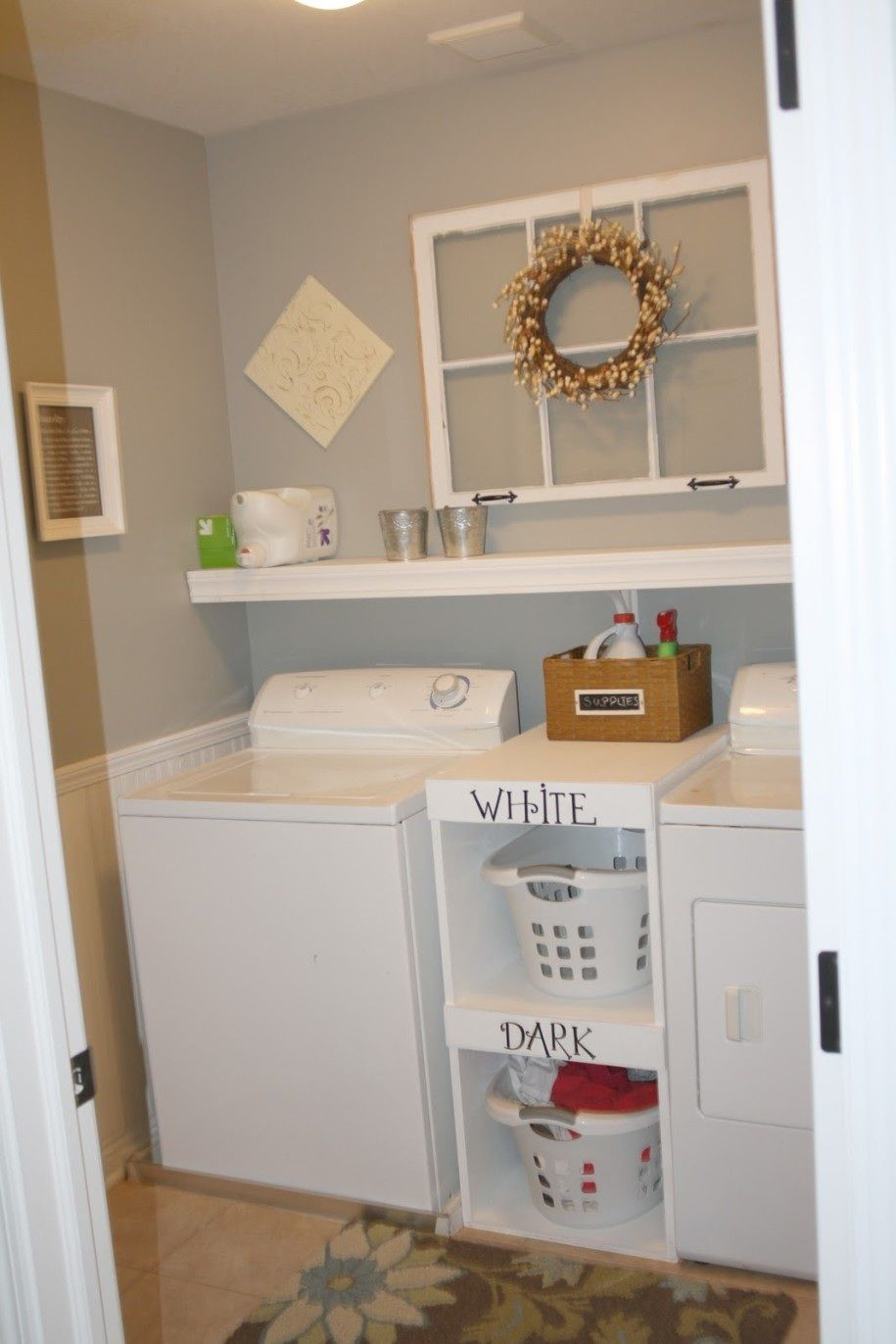 Like cabinet btw washer dryer laundry room makeover for Shelf above washer and dryer