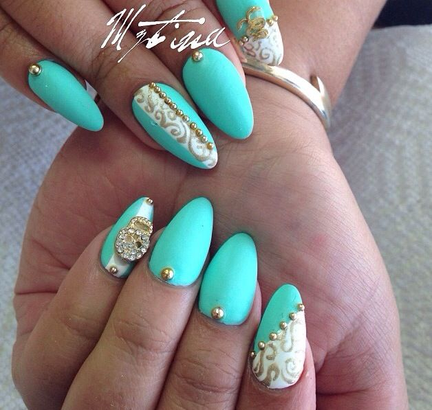 Aqua almond nails | Nails | Pinterest