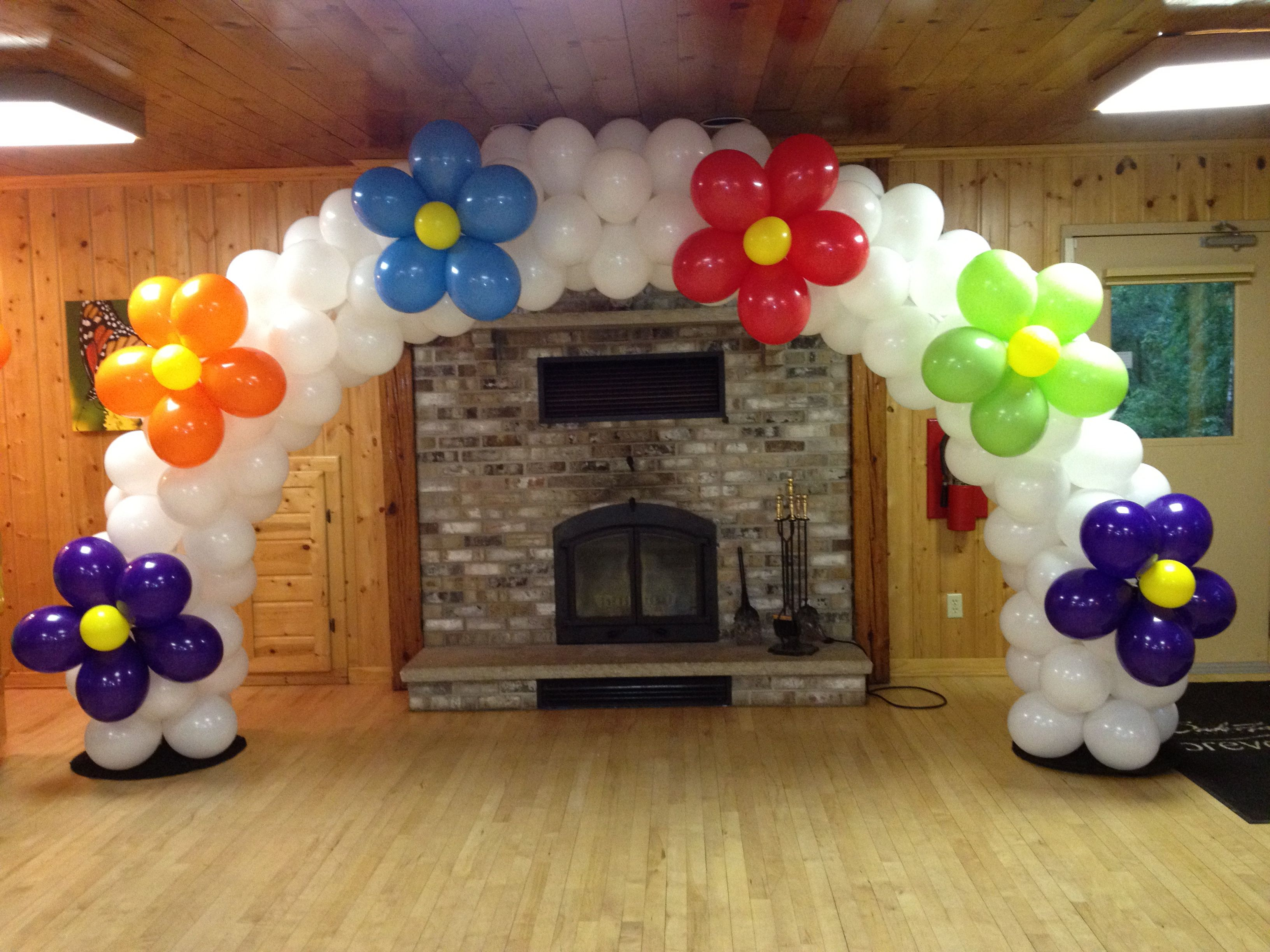 Flower balloon arch gift party ideas pinterest for Balloon arch decoration ideas
