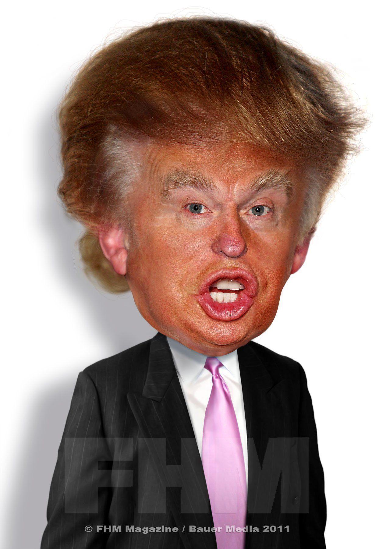 how to draw donald trump cartoon face