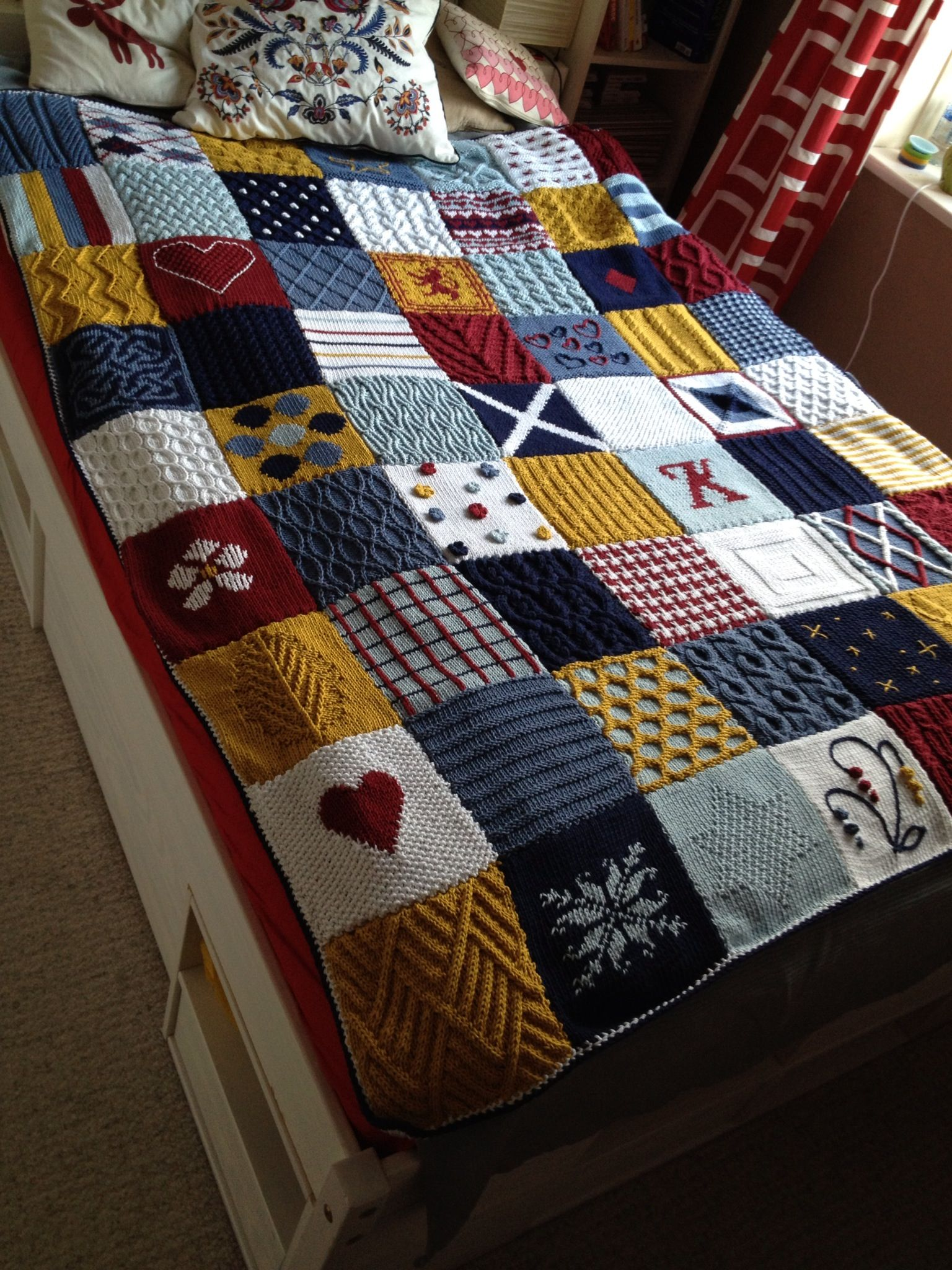 Knitting Pattern For A Patchwork Blanket : Knit Patchwork Blanket Knitting Pinterest