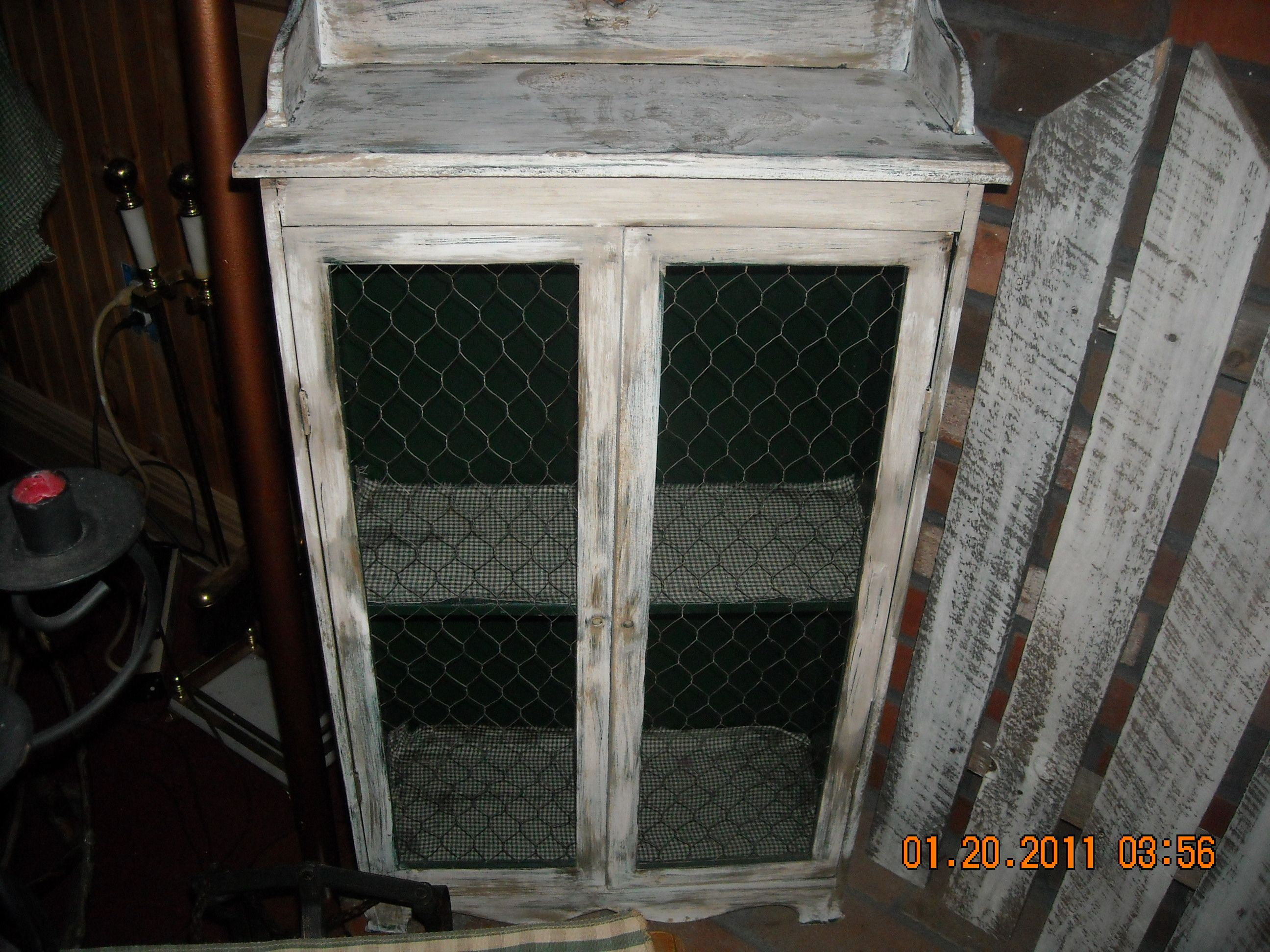 Primitive Cabinets with Chicken Wire
