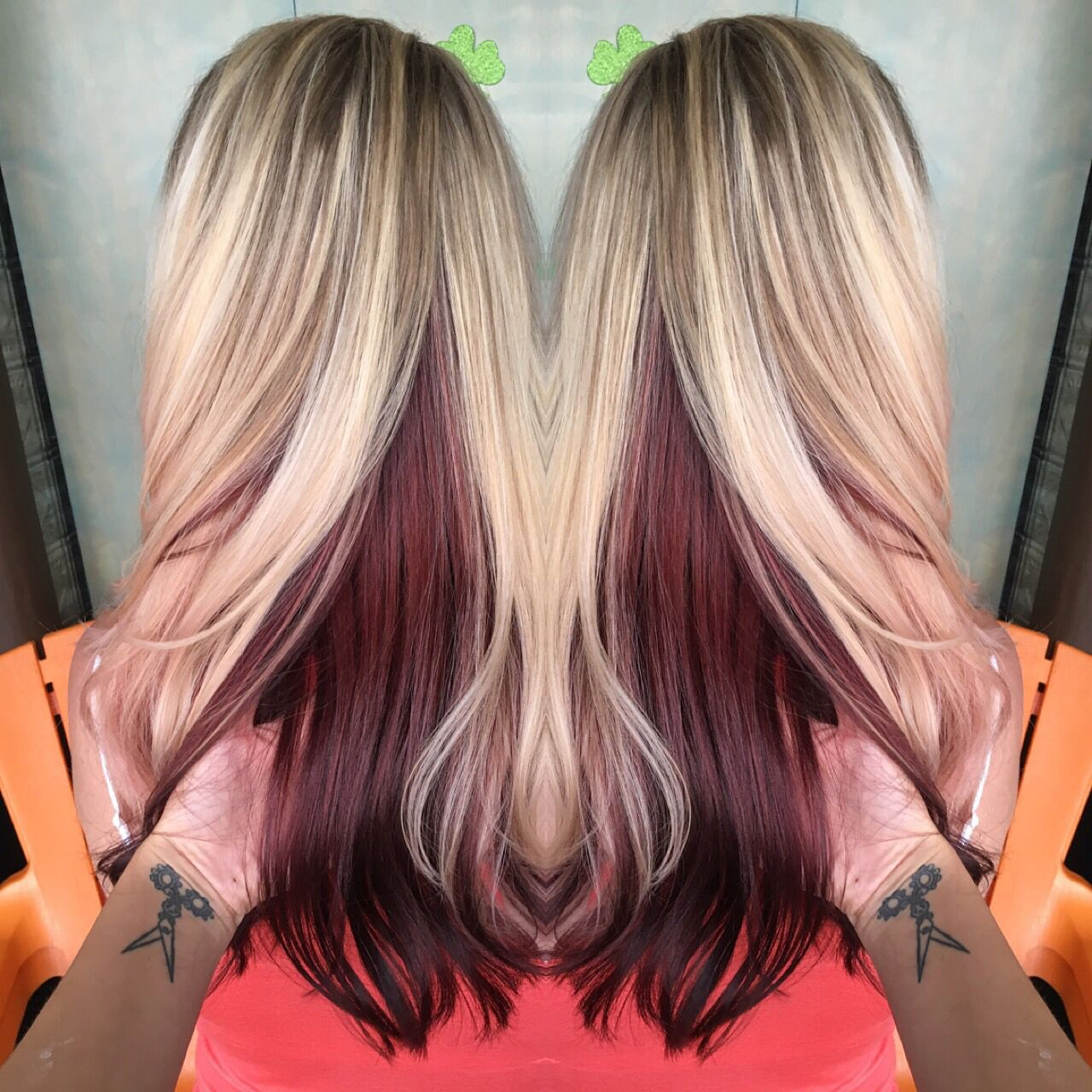 Blonde highlights with brown peekaboo