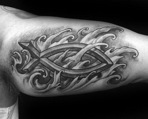 40 Ichthus Tattoo Designs For Men – Jesus Fish Ink Ideas