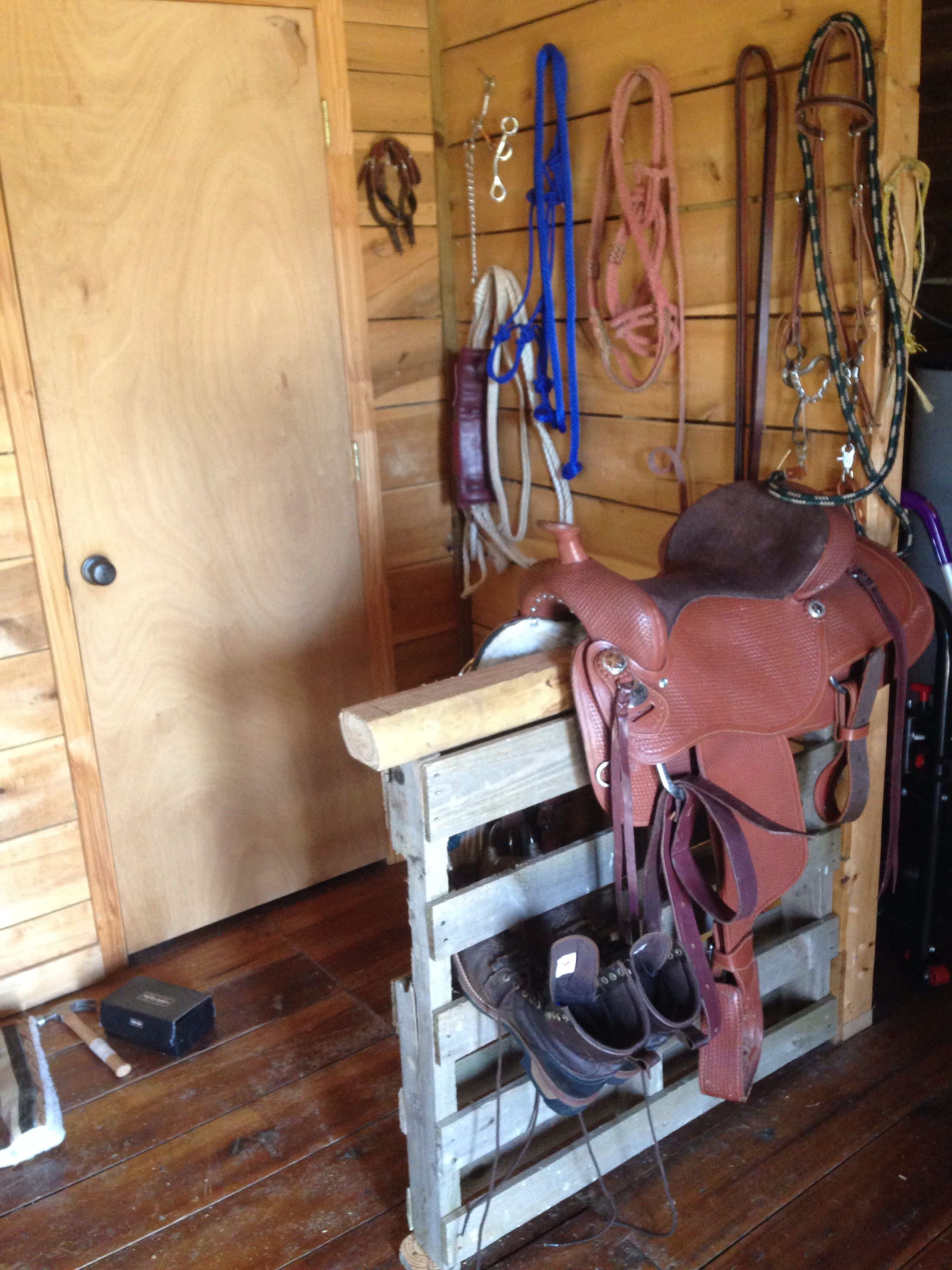 Saddle Rack Made Out Of Pallet And Wood Post. Easy To Make And Can Get . Full resolution  portrait, nominally Width 3264 Height 2448 pixels, portrait with #A26F29.