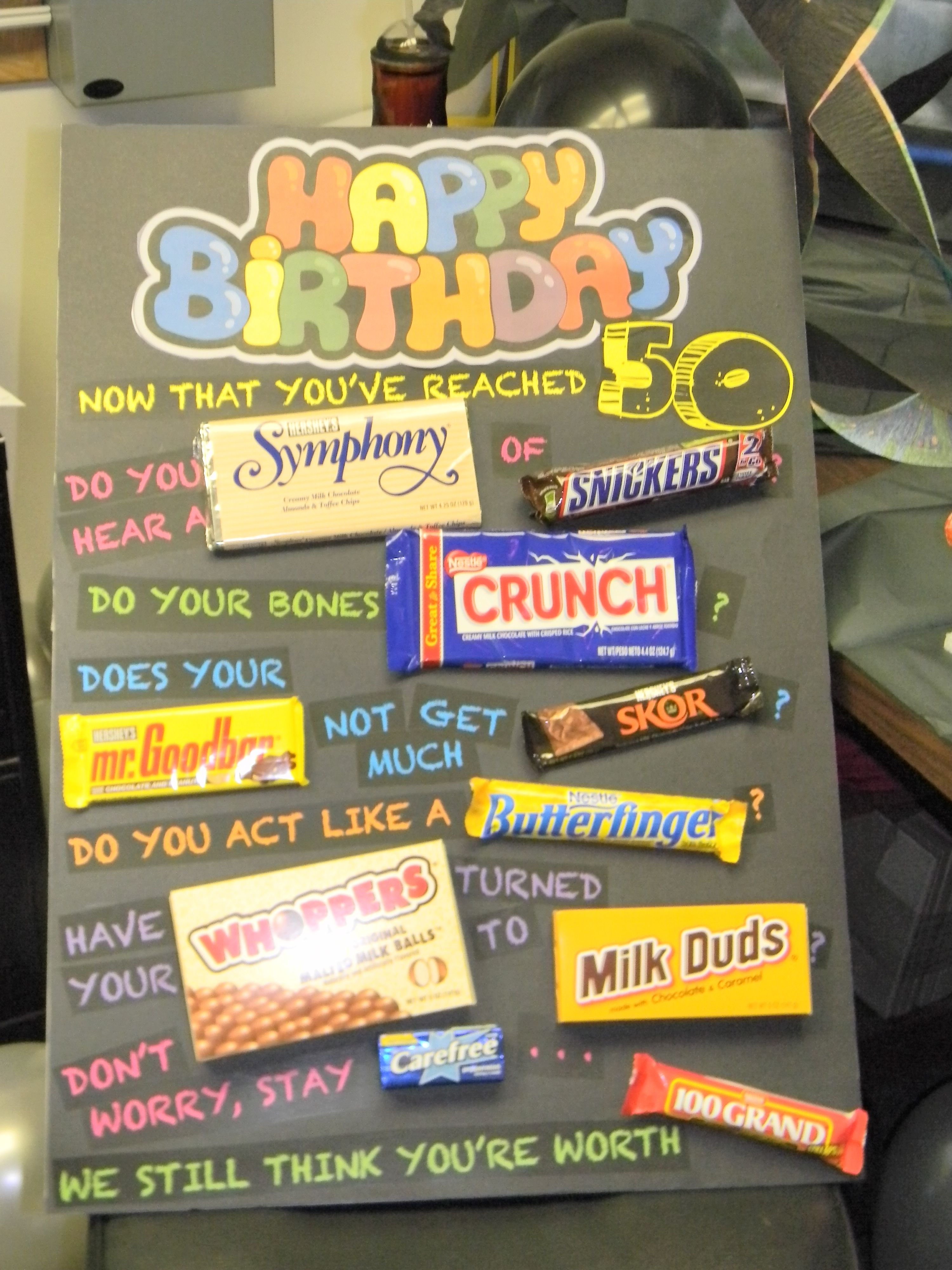 Happy 50th birthday poster w/ candy's