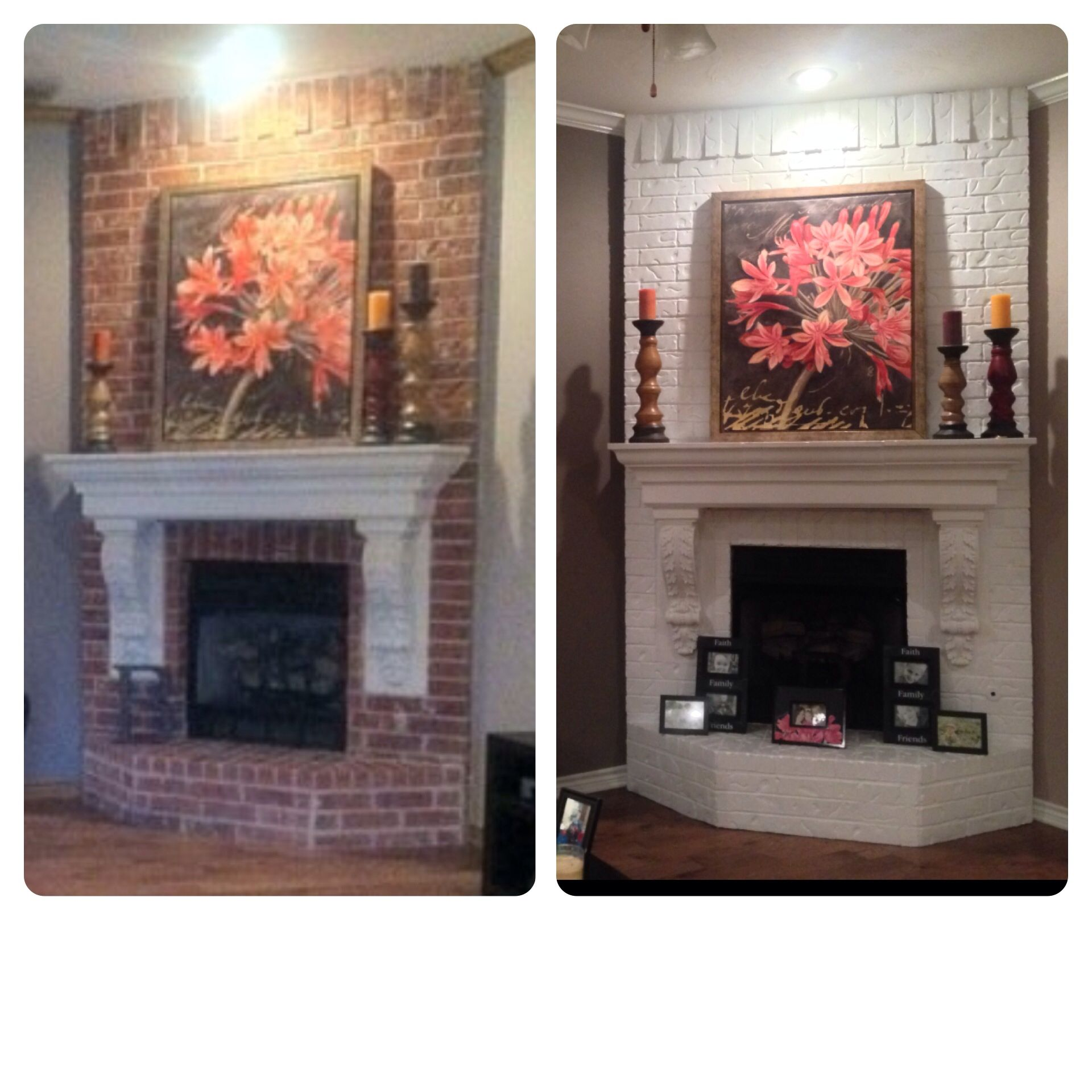 painted fireplace before and after new house pinterest. Black Bedroom Furniture Sets. Home Design Ideas