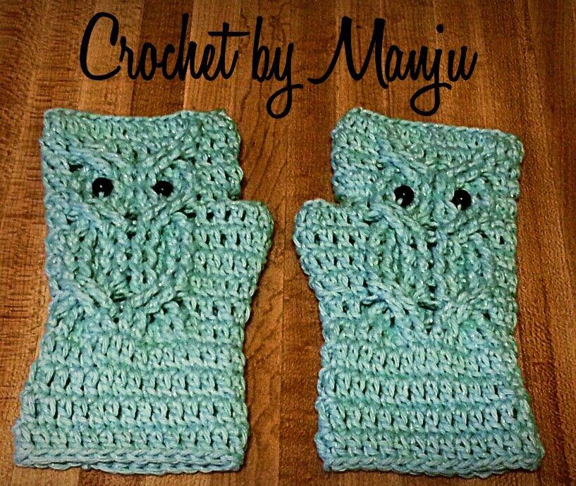 Owl fingerless gloves crochet Pinterest