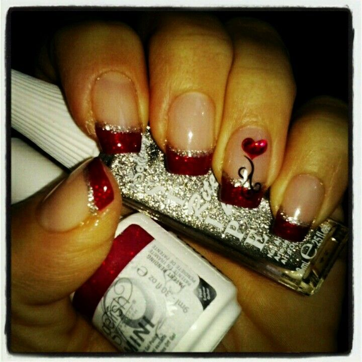 valentines day nails red