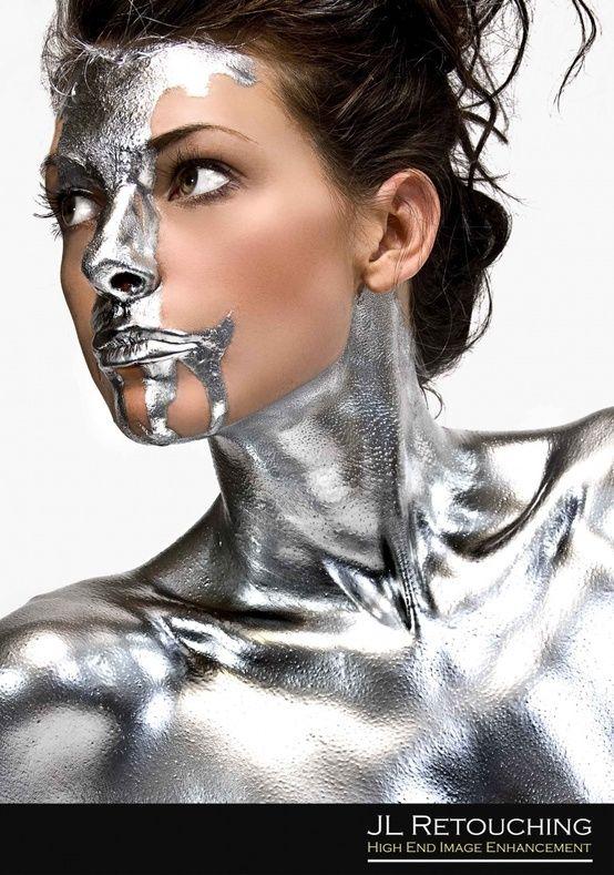 Silver body paint metallic pinterest for Paint photo shoot ideas