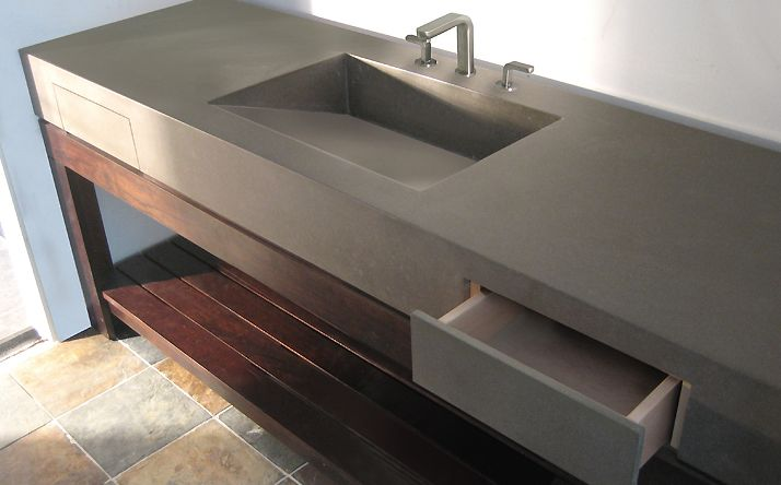 Remodelaholic  DIY Concrete Vanity with integral sink!