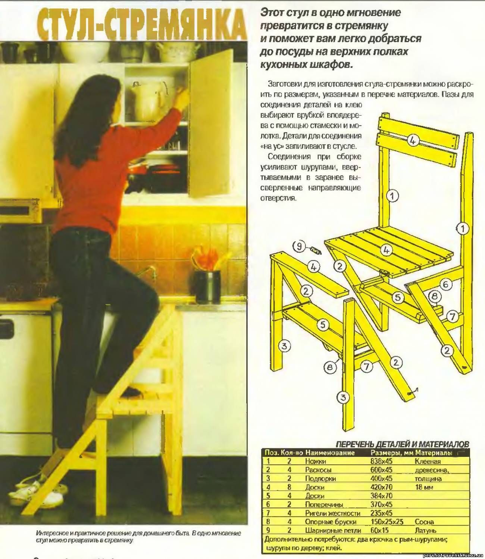 Как самому сделать стул-стремянку