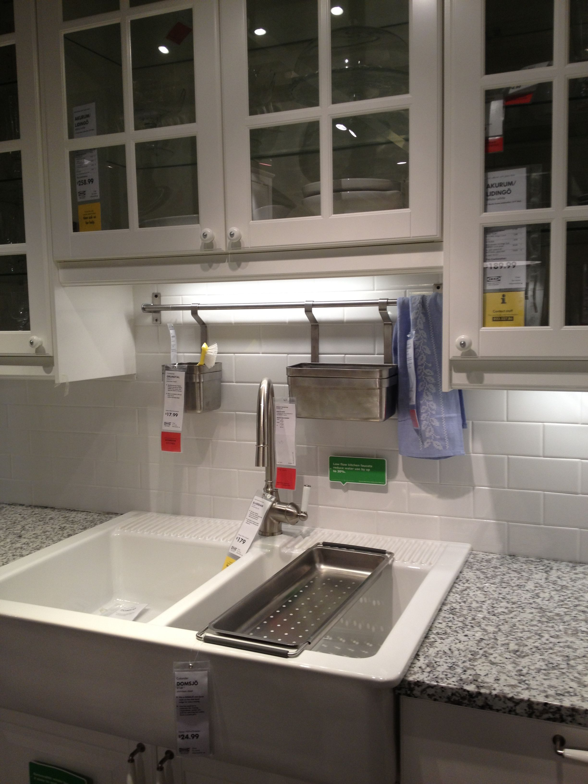 White Subway Tile Backsplash IKEA Kitchen Pinterest