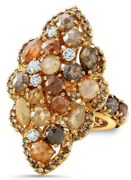 Ring in 18 kt yellow gold featuring multicolor rose cut and white diamonds from the Rustico Collection by Bavna