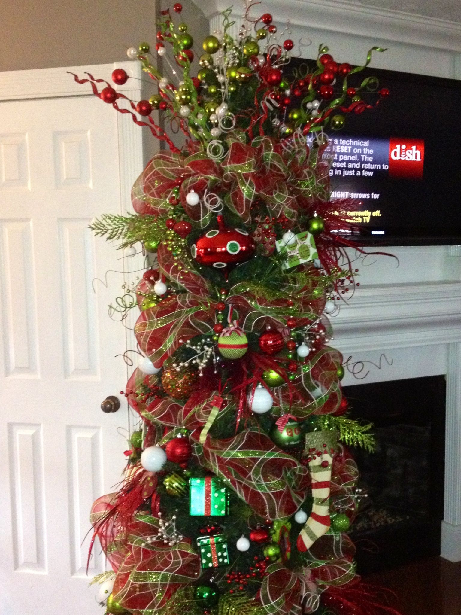 red and green christmas tree holiday pinterest