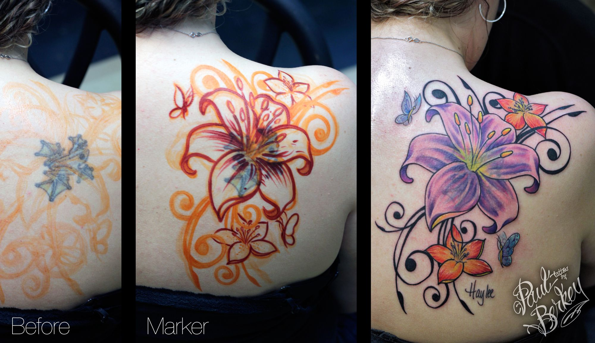 Flower cover up tattoos by paulberkey body ink ideas for Brown tattoo ink cover up