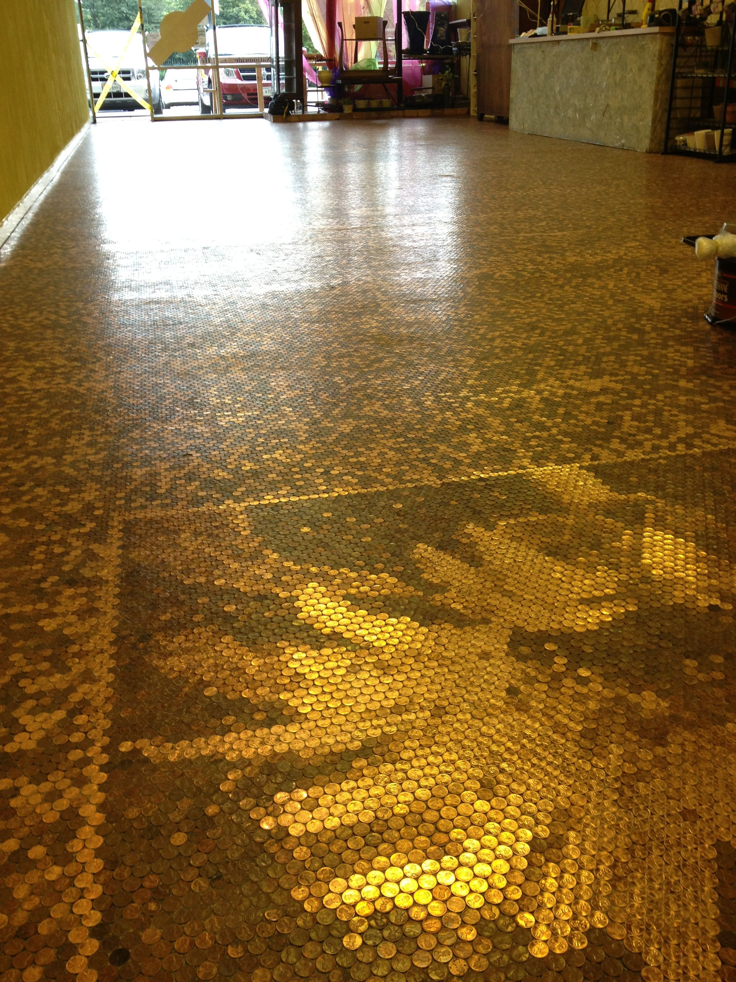 Penny floor with sunflower mosaic stairs windows doors for Floor of pennies