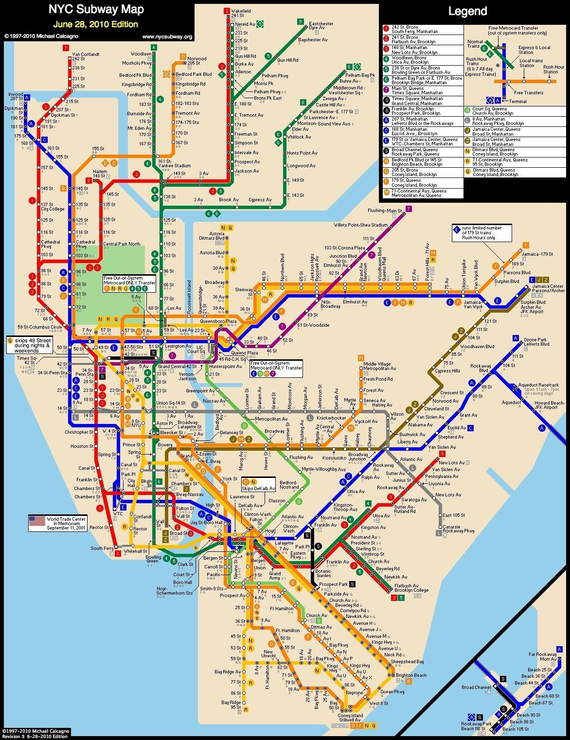 NYC Subway map From Liberty Harbor RV to Columbia stadium: Grove ...