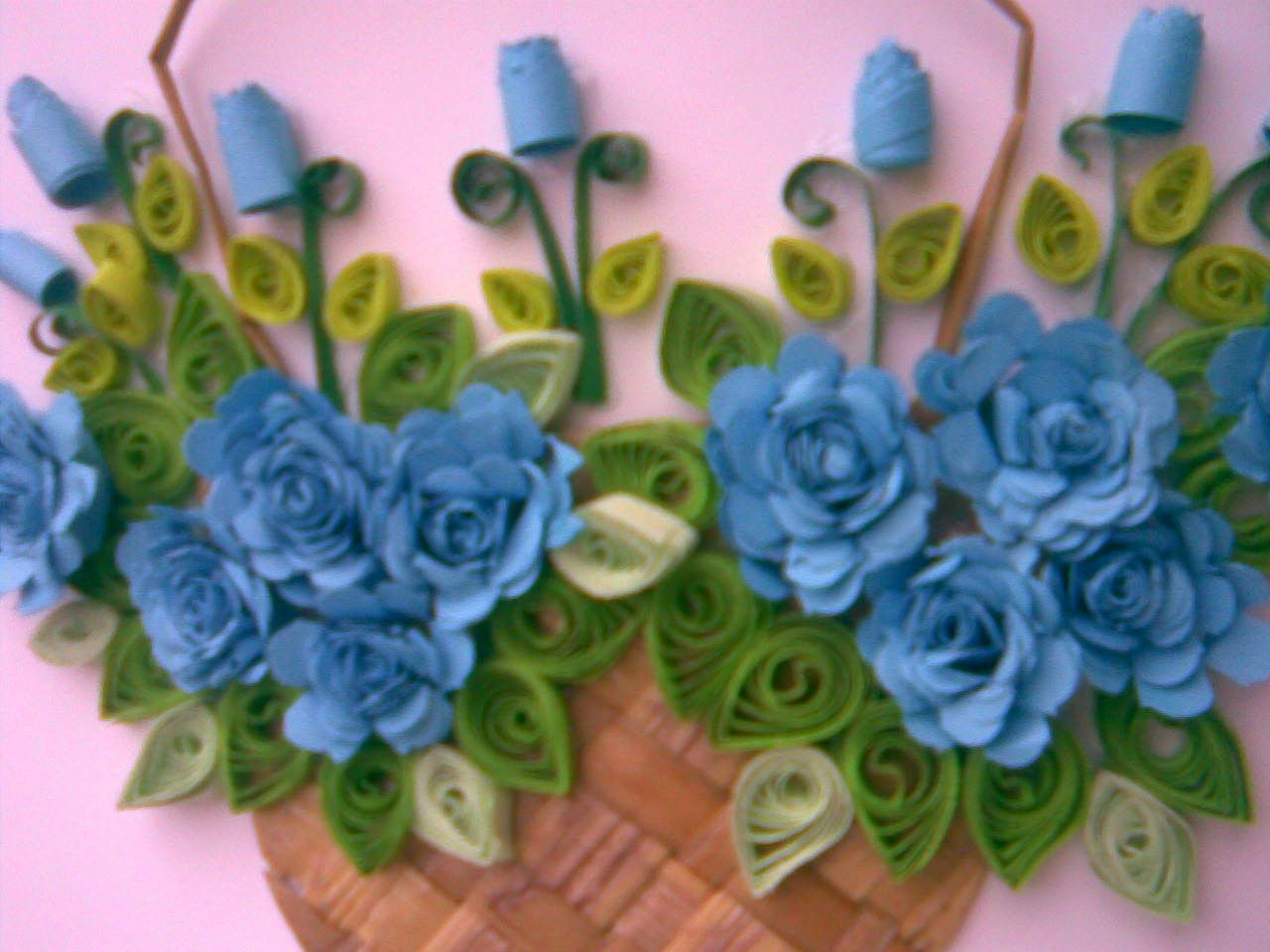 ... MY paper quilling flower baskets( Greeting car