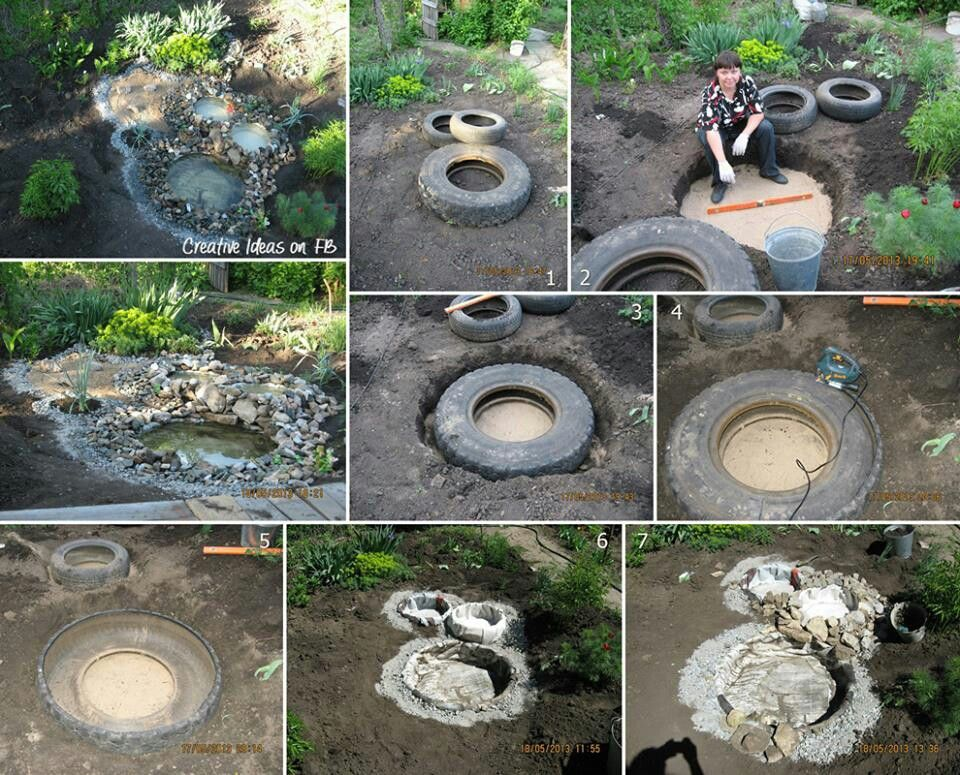 Make A Pond W Old Tires Garden Pinterest