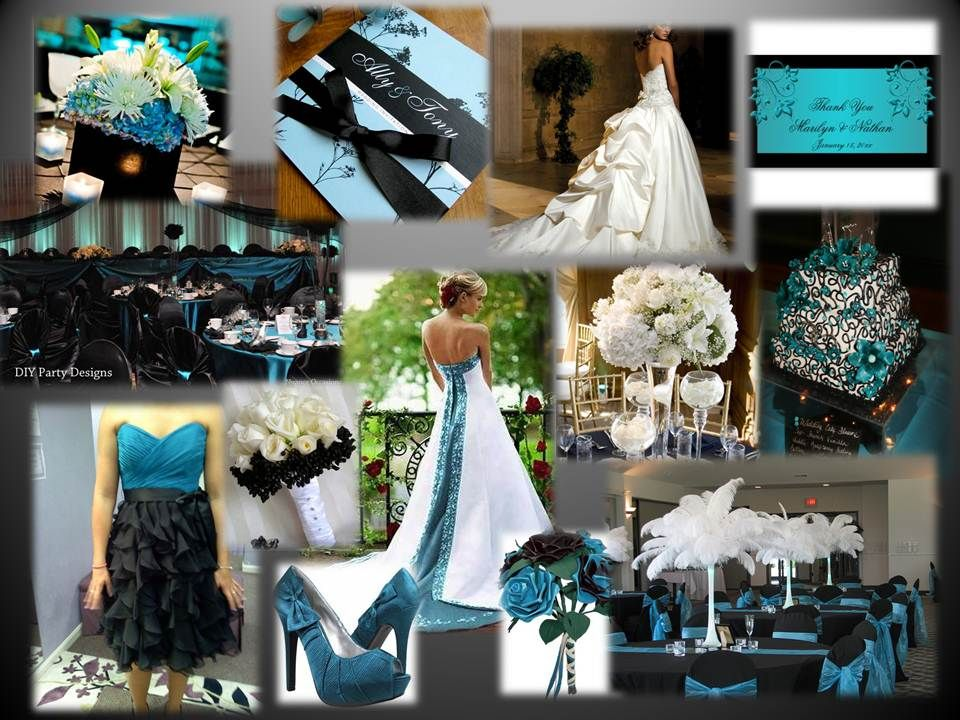 Teal black white wedding theme wedding pinterest for Teal wedding theme ideas