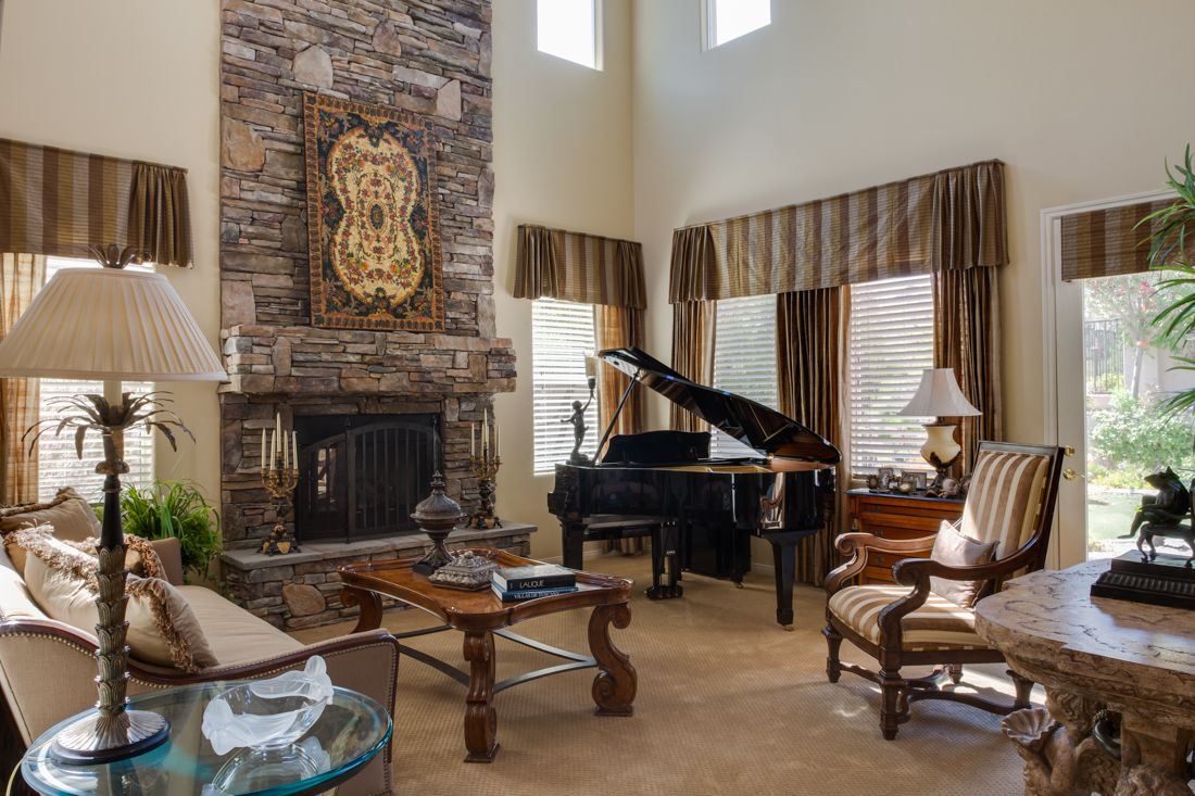 Magnificent living room with grand piano music rooms for Grand piano in living room