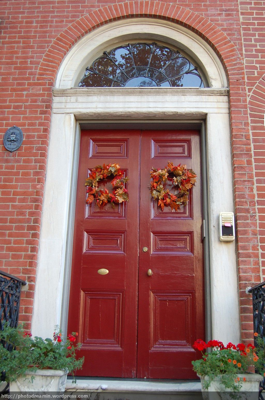 1544 #7D2C2A Red Door Exterior Brownstone Homes Pinterest wallpaper Red Front Doors For Homes 41151024