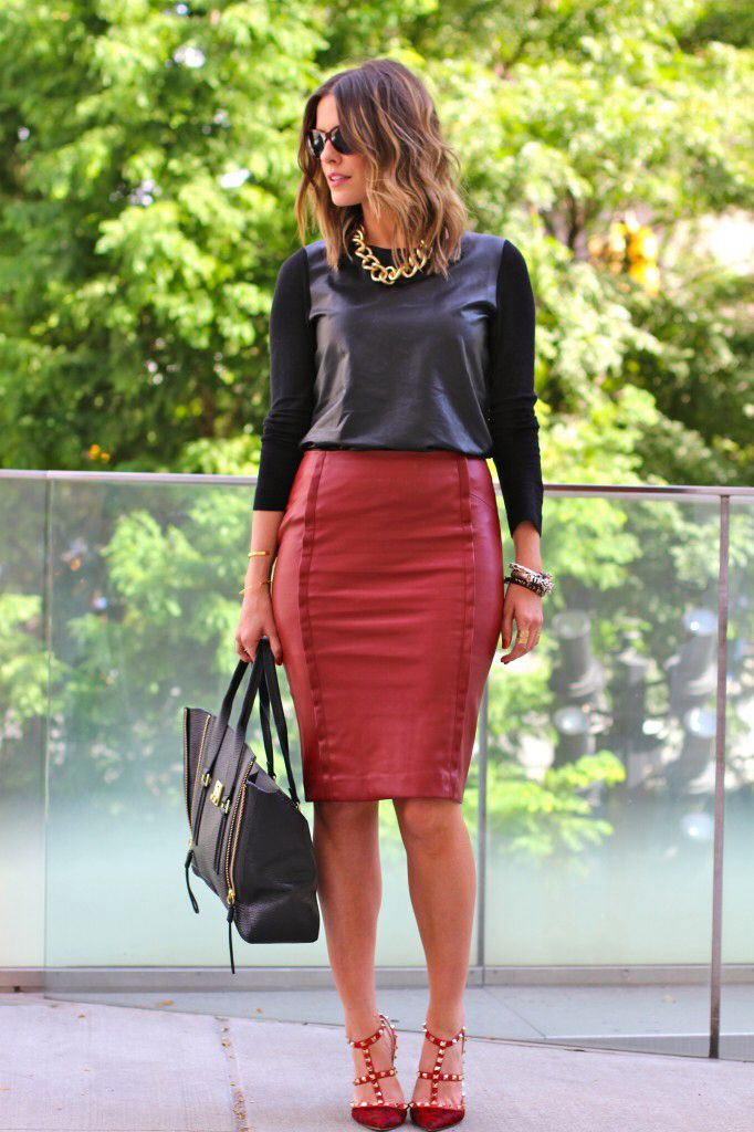 Red leather skirt leather top | Outfit Ideas | Pinterest