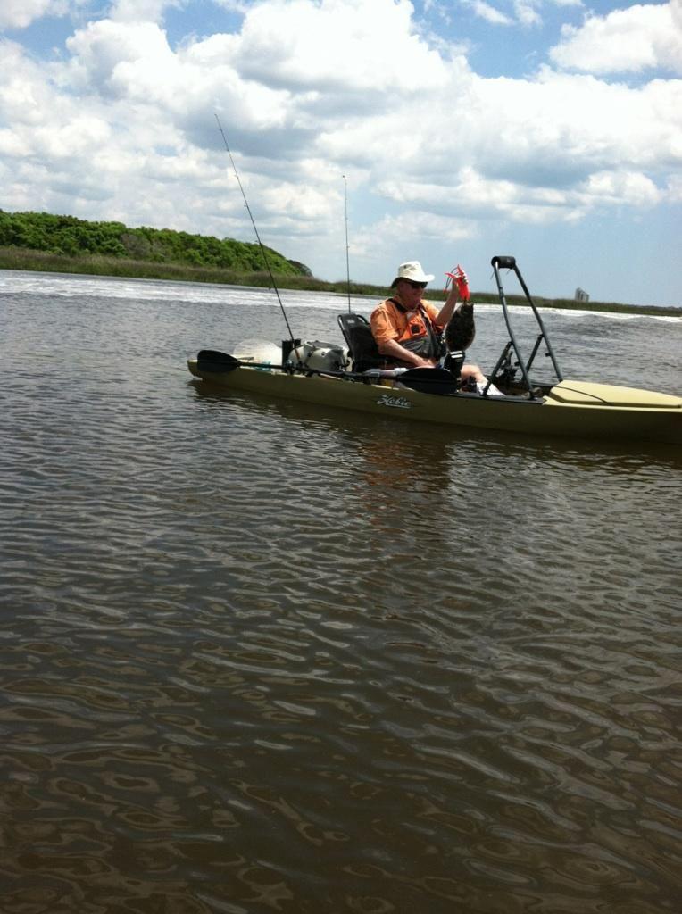 First Flounder In My Hobie Pro Angler Kayak Fishing