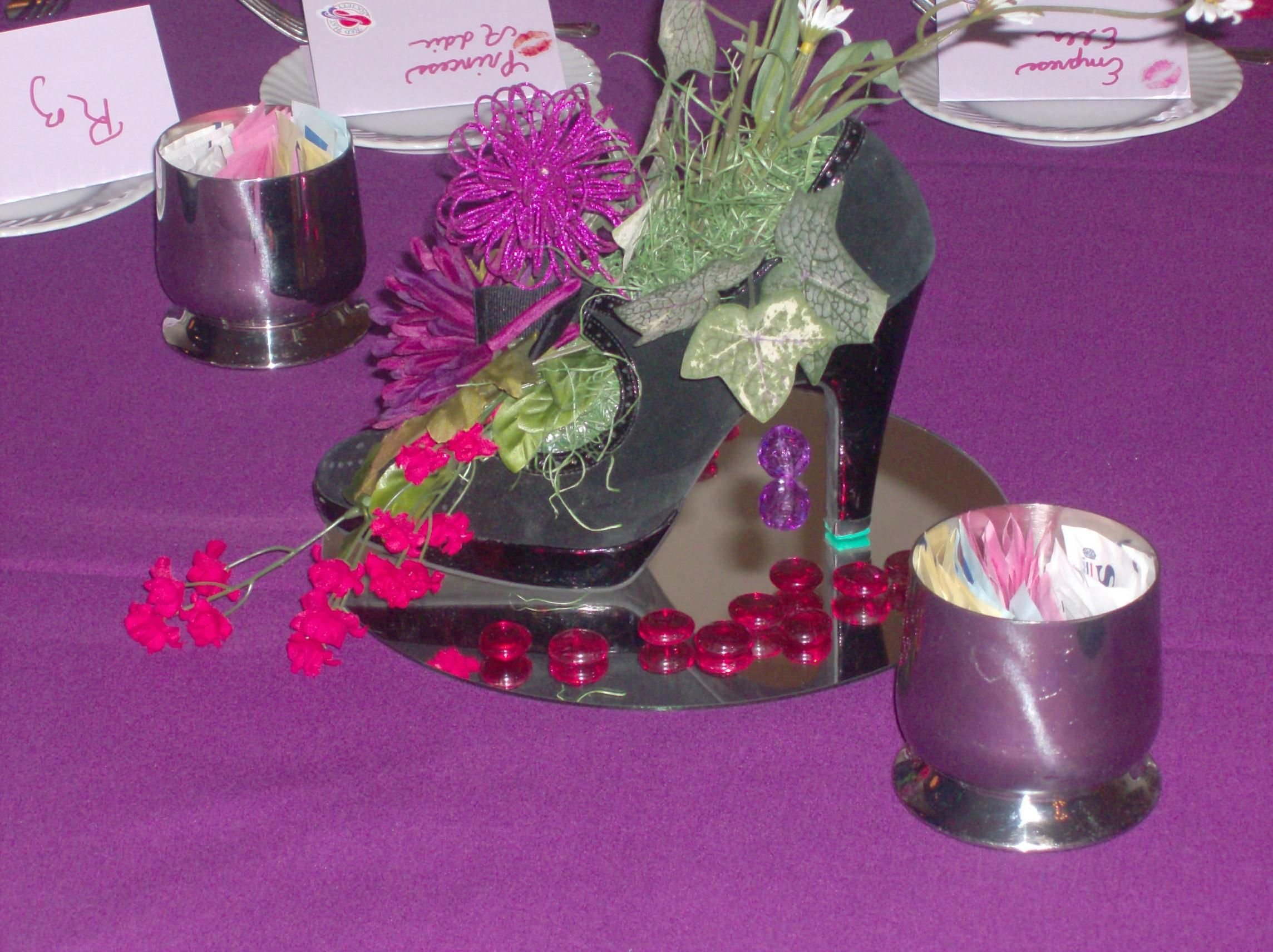 shoe centerpiece | Table Decor | Pinterest