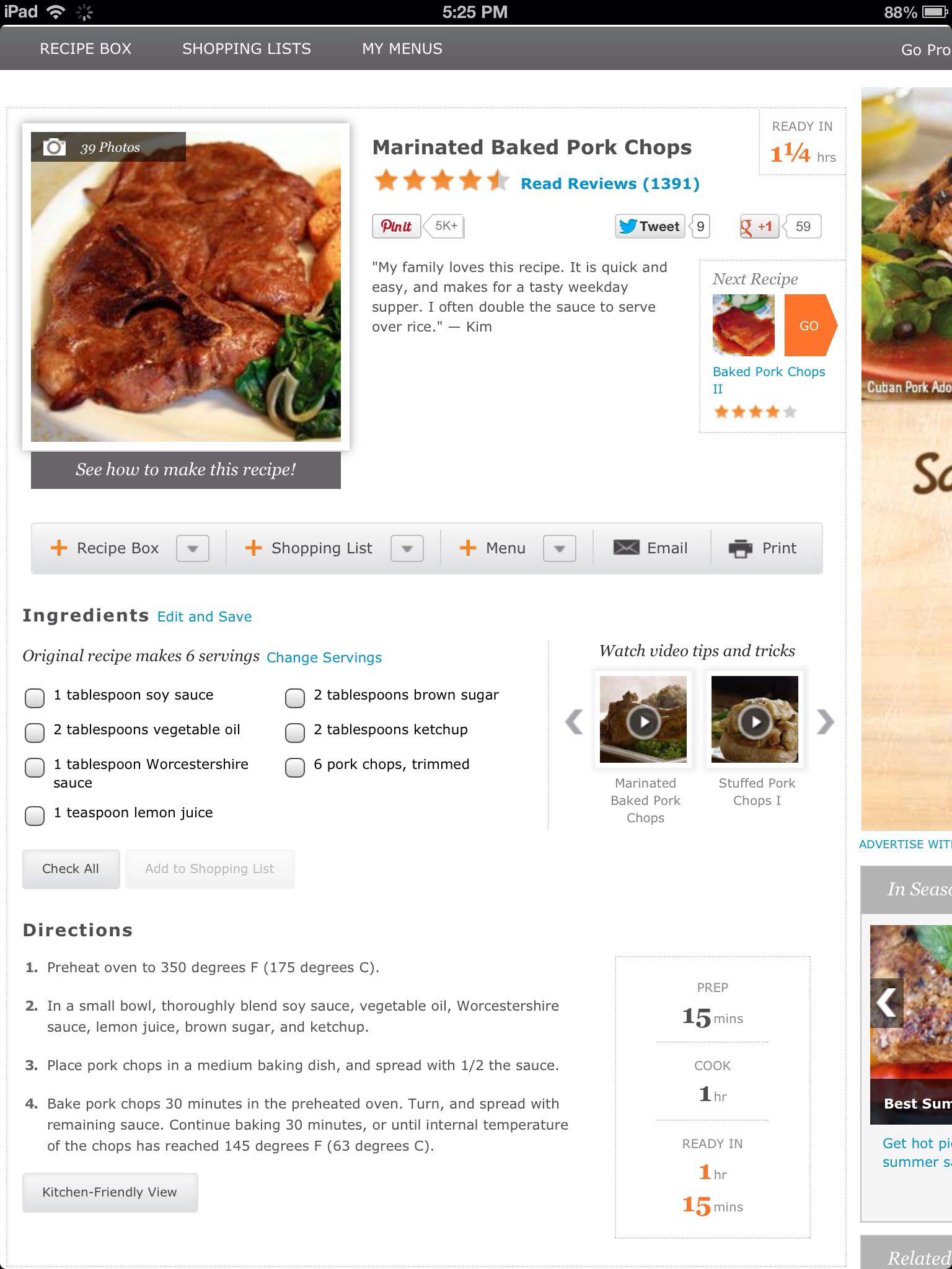 Marinated Baked Pork Chops | What's for Din Din? | Pinterest