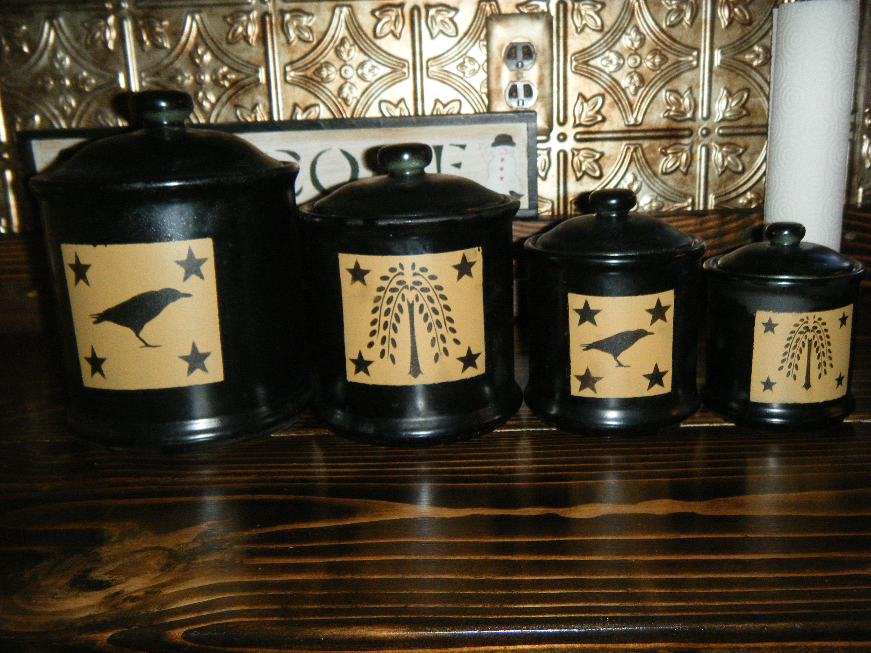 28 primitive kitchen canister sets wood canister set primitive kitchen canister sets my canisters after primitives diy pinterest