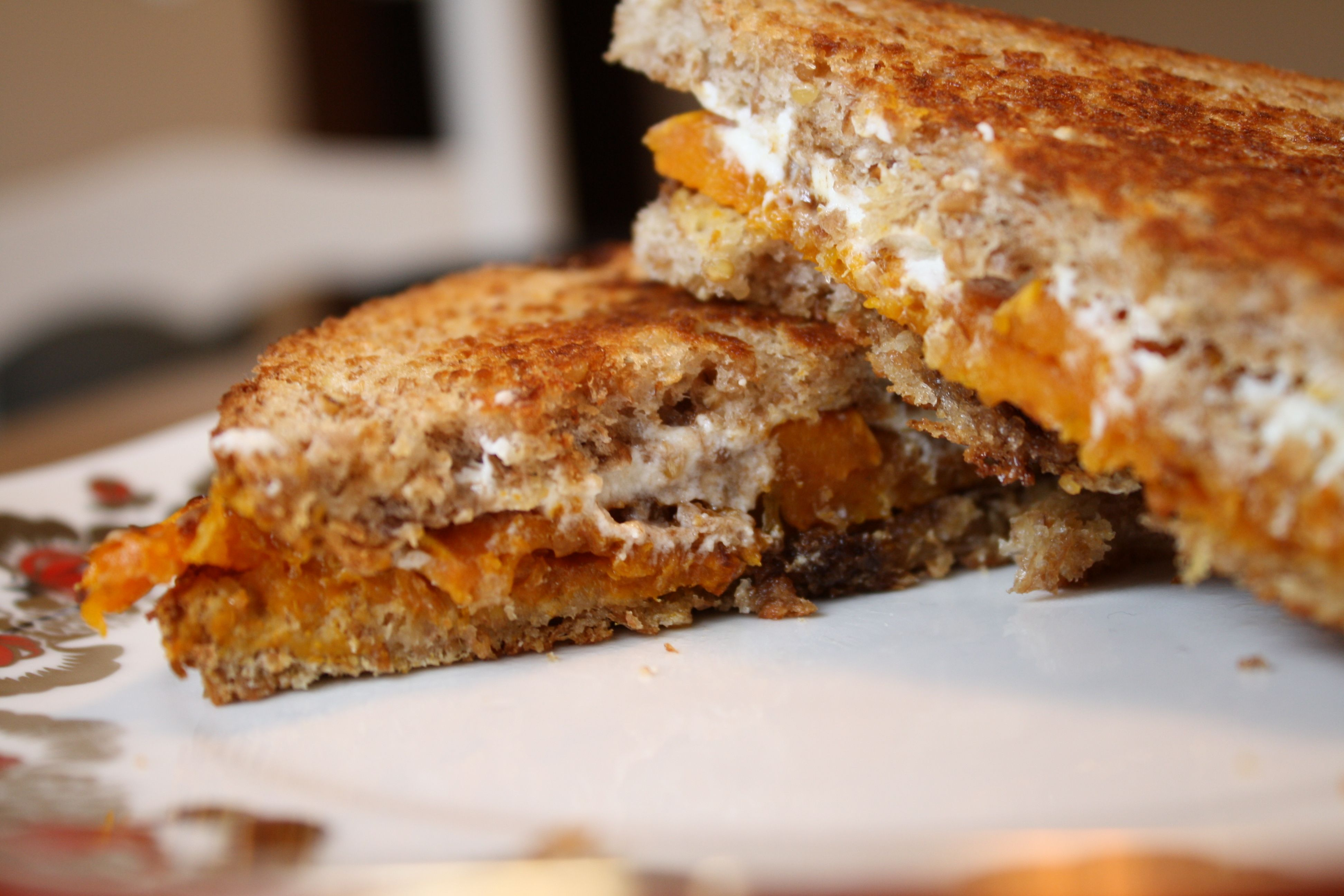 butternut squash and goat cheese panini | savory noms | Pinterest