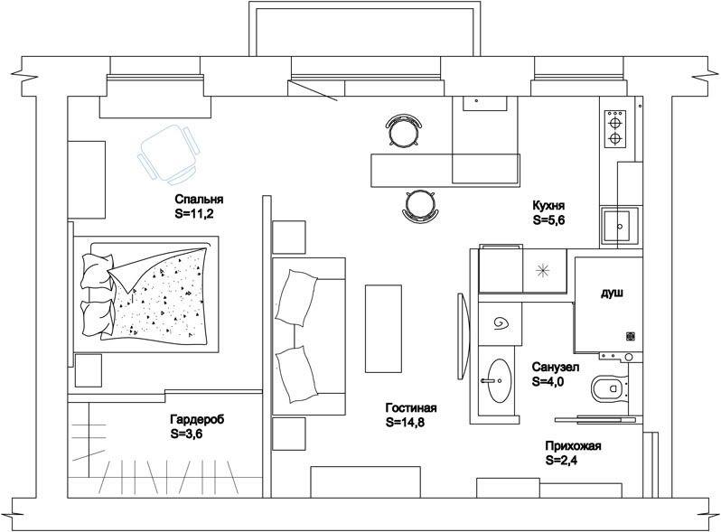Дизайн хрущевки 42 кв.м